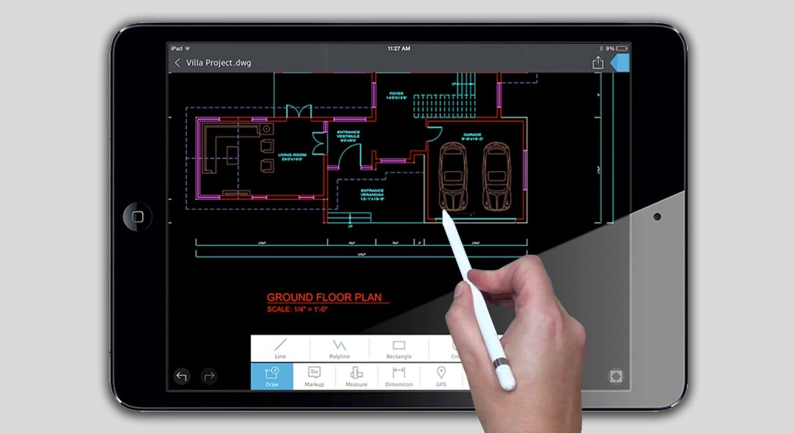 AutoCAD 360 기능: Apple Pencil 지원(iPad 전용)