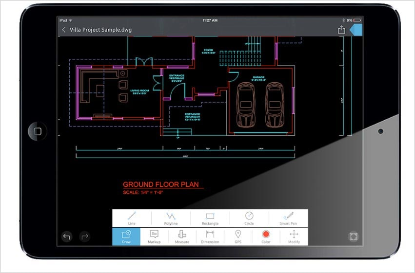 AutoCAD 360 features: iPad Pro compatibility (iPad only)