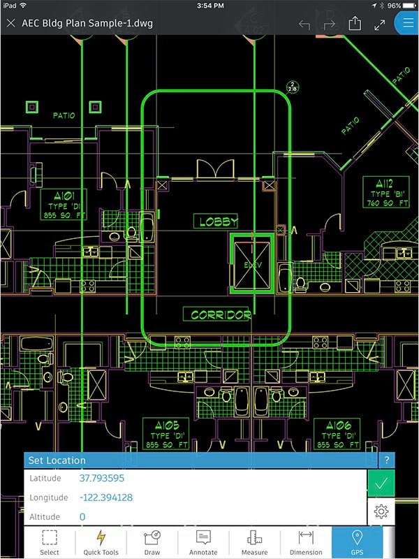 AutoCAD 360 features: Orient yourself with GPS