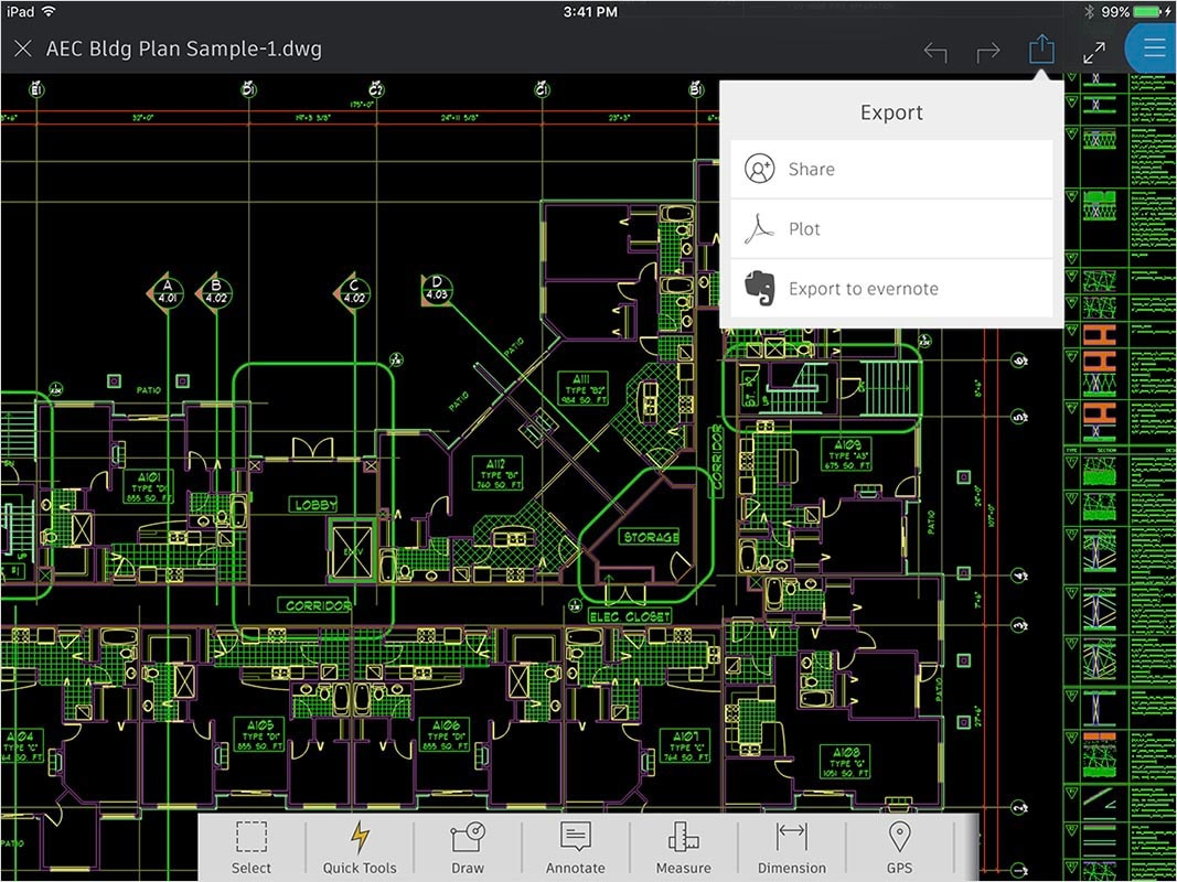 AutoCAD 360 features: Share