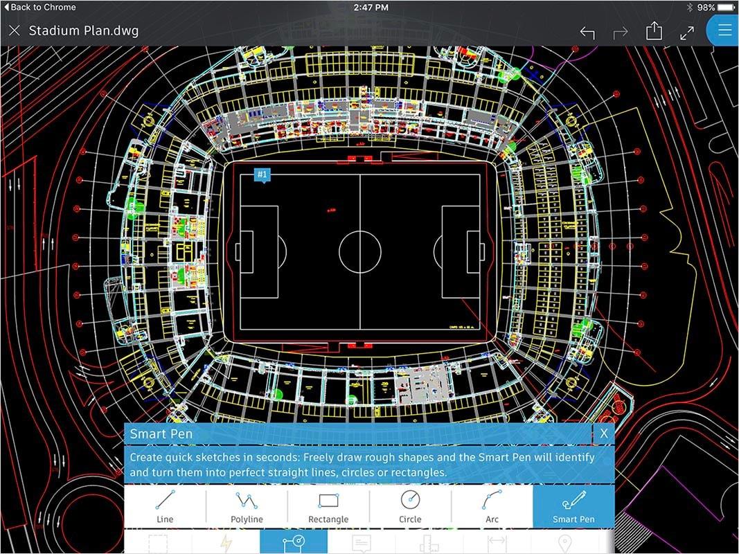 Fonctionnalités d'AutoCAD360: esquisse