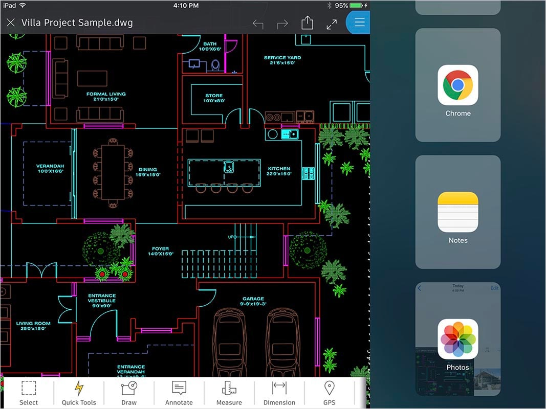 AutoCAD 360 features: Split-screen multitasking (iPad only)