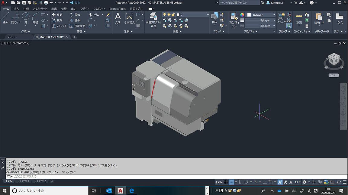 AutoCAD 2022 インタフェースのマスター アセンブリ図面。