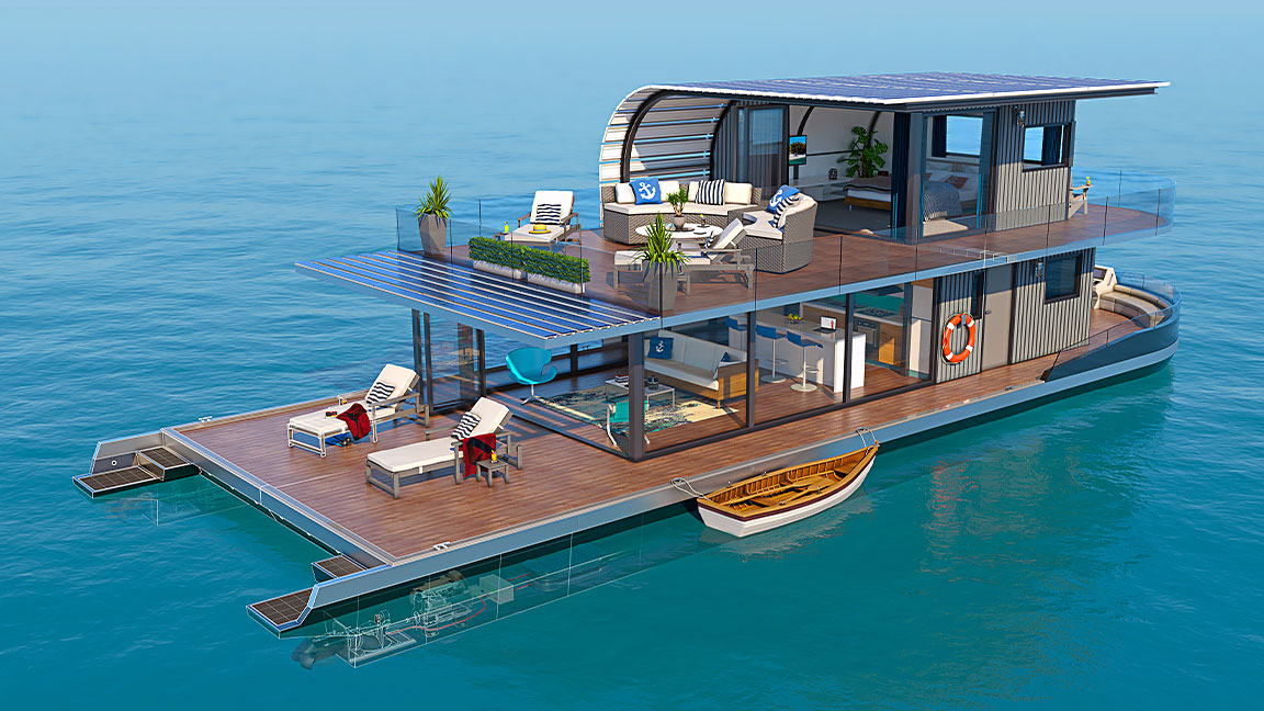 デッキ、リビング スペース、キッチンなどが備わった、2 階建てのハウスボートの 3D CAD 設計