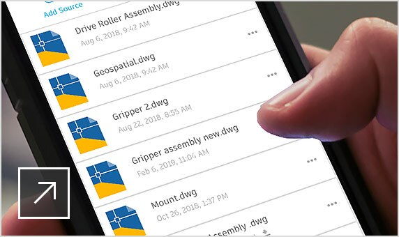 A person scrolls through DWG files in AutoCAD on a smartphone