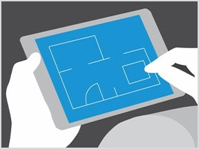 Eine Person erstellt mit der AutoCAD Mobil-App Entwürfe auf einem Tablet