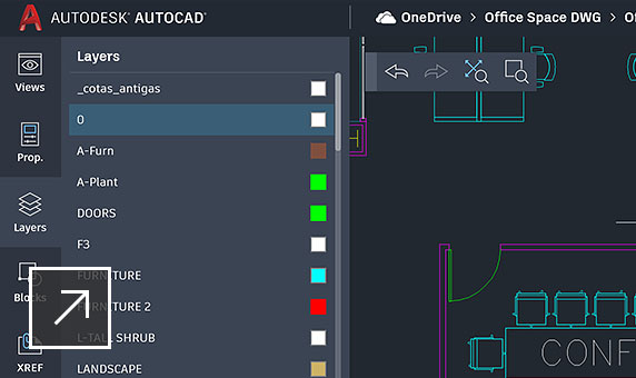 AutoCAD web app layers tab drawing commands