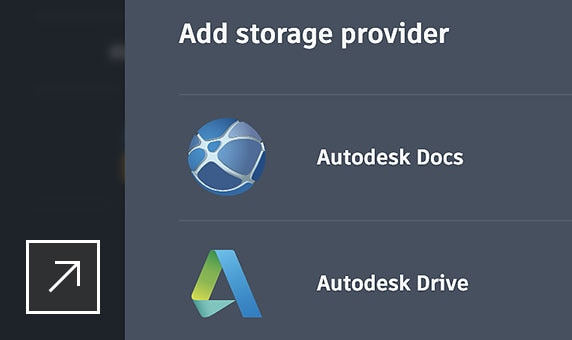 Autodesk Drive、Autodesk Docs のほか、OneDrive、Google Drive、Dropbox、Box に格納されている図面を表示、編集、共有、保存できます。