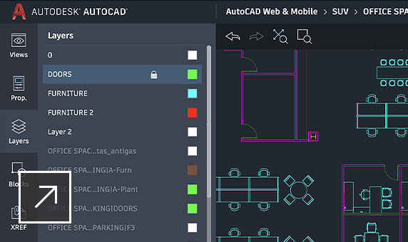 AutoCAD drawing of an office layout showing layers