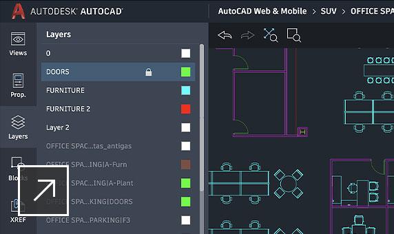 オフィス レイアウトの AutoCAD 図面、レイヤを表示