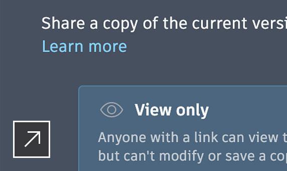 Cuadro de diálogo Compartir en la aplicación web de AutoCAD con opciones solo para visualizar o para editar y guardar una copia