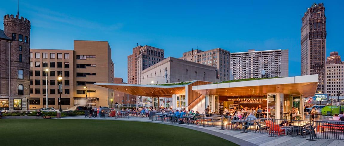 了解位于底特律 Beacon Park 的 Lumen 餐饮大楼如何使用 彩票网址大全001,AutoCAD 软件