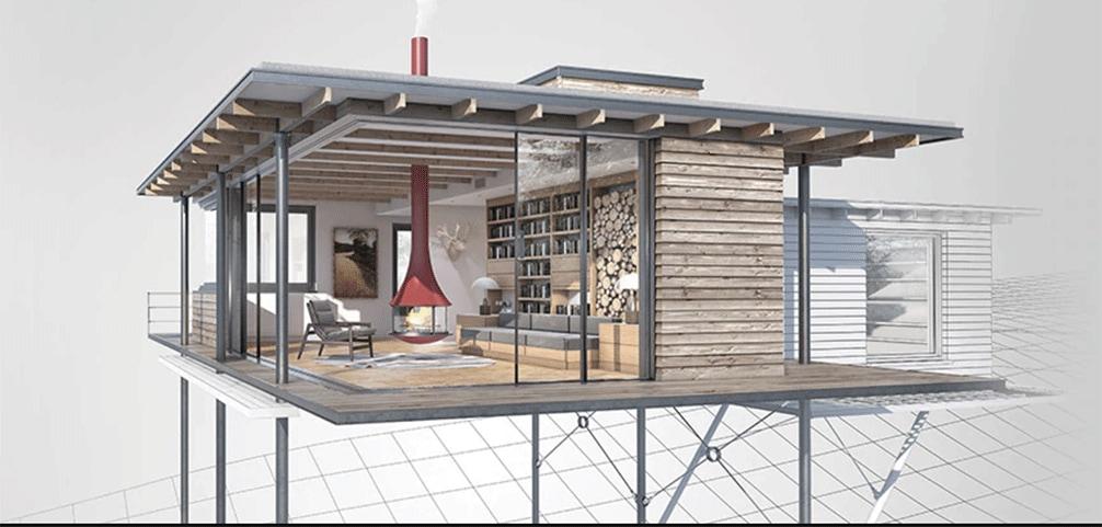 Casa projetada pelos programas da Autodesk