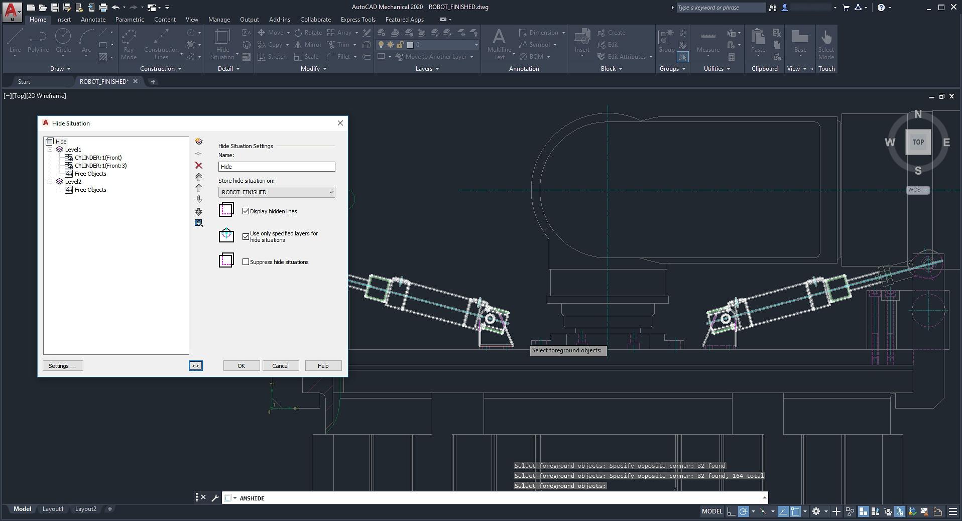 f8c3c4d1f После указания объектов, пересекающихся с другими объектами, AutoCAD  Mechanical автоматически создает скрытые линии