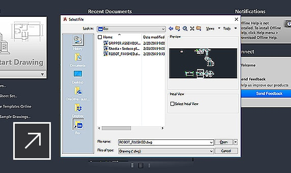 Desktop view of a drawing overlaid with a dialog box listing DWGs stored in the cloud with AutoCAD
