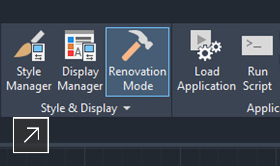 Sample floorplan in AutoCAD Architecture 2021 with renovation mode selected
