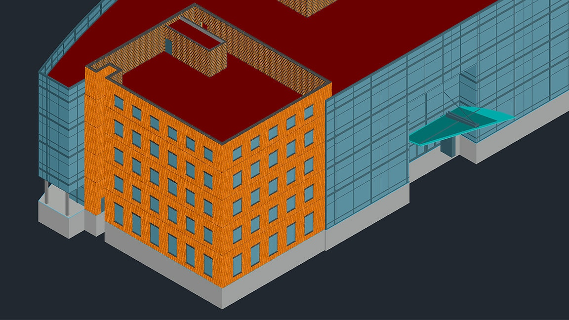 3D model of building in shown in toolset user interface