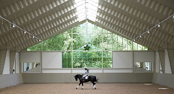 Woman riding dressage horse in large riding hall