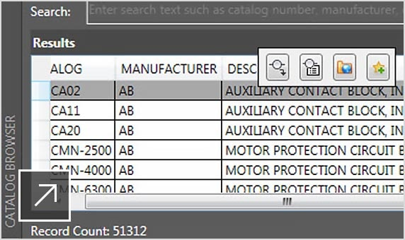 已開啟範例元件插入面板的線路圖詳細資料