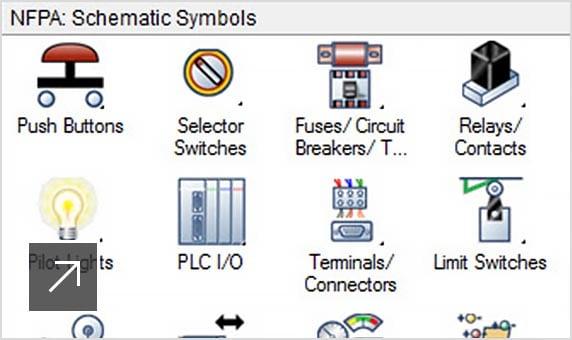 Vue d'une bibliothèque de symboles schématiques électriques