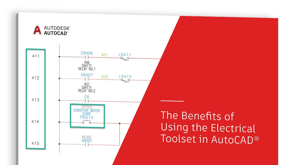 "A ""The Benefits of Using the Electrical toolset in AutoCAD"" (Az Electrical eszközkészlet használatának előnyei az AutoCAD-ben) tanulmány borítójának nézete"