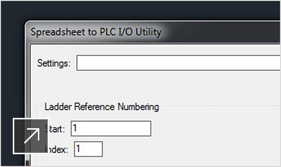 Detail tekening met spreadsheet naar PLC I/O-hulpprogramma geopend