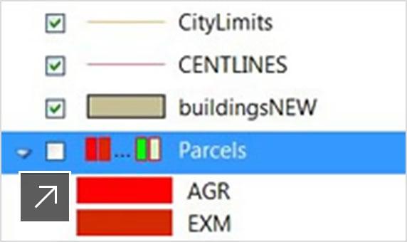 Détail d'un dessin urbain superposé aux groupes de fonctions d'outils et au groupe de fonctions des tâches du gestionnaire d'affichage