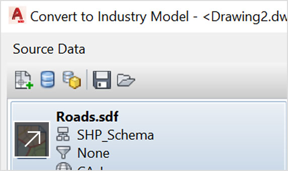 Cutout of the Convert-to-Industry-Model panel in AutoCAD Map 3D