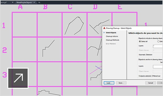 Selecting objects to clean and anchor through the drawing cleanup tools