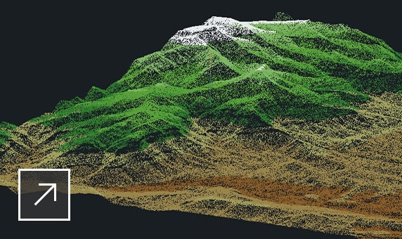 3D topographical model of a mountain landscape