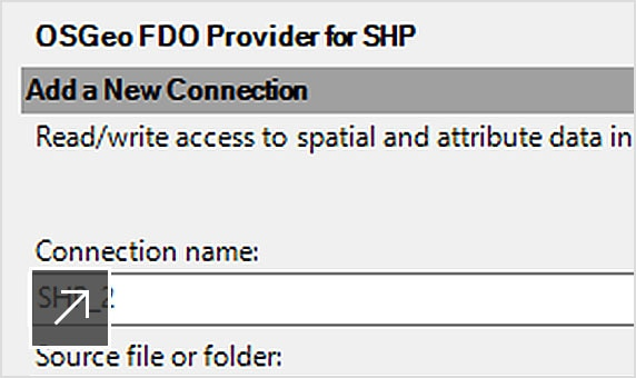 Adding a new connection in the ESRI SHP file