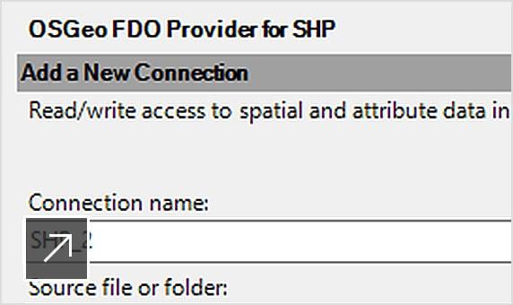 Adição de uma nova conexão ao arquivo ESRI SHP