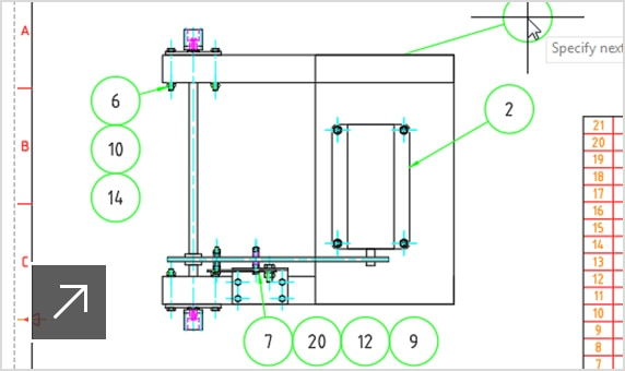 2D of a drive system assembly in AutoCAD Mechanical