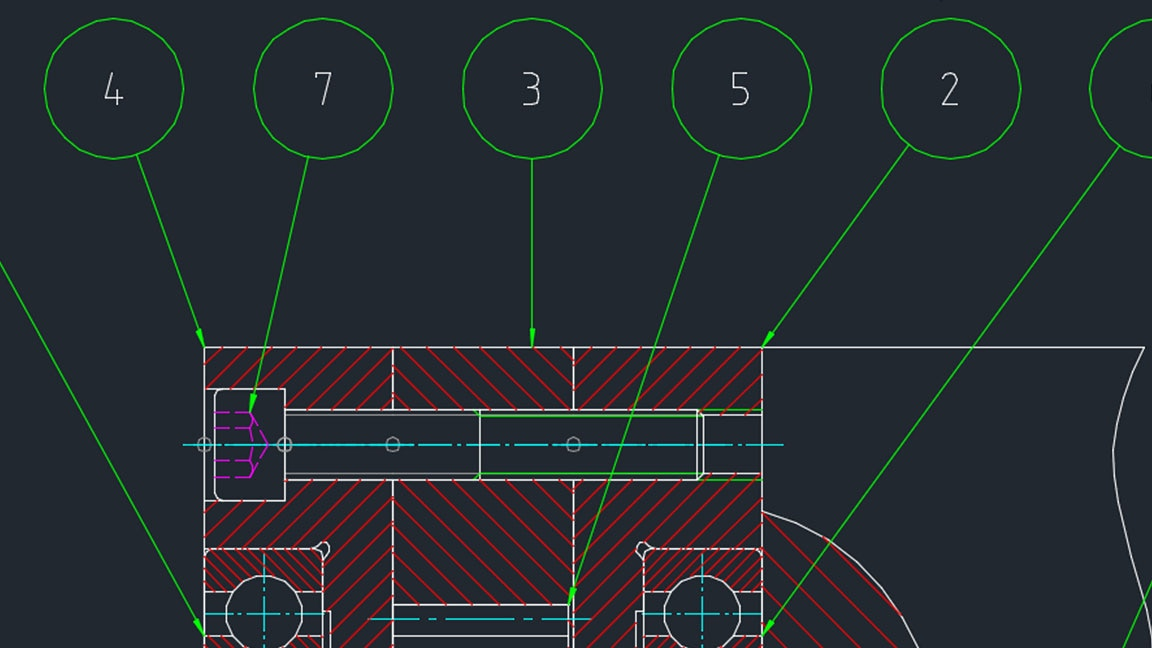 DWG diagram of mechanical system viewed in toolset user interface