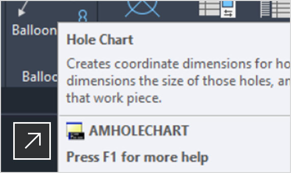 2D DWG in AutoCAD Mechanical with Hole Chart panel open