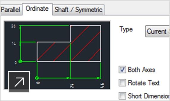 2D-вид с отображаемыми размерами модели и открытой панелью «Несколько размеров»