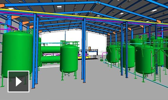 Dessin3D de l'intérieur d'une usine de traitement des eaux
