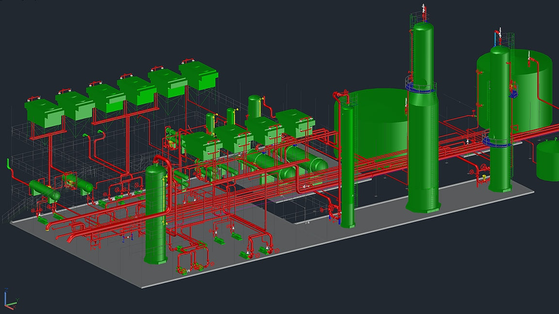 ツールセットのユーザー インタフェースに表示された配管システムのモデル