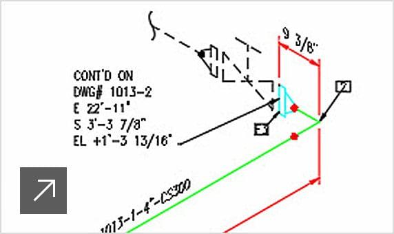 Modèle 3D superposé à un groupe de fonctions affichant une vue détaillée d'un dessin isométrique de lignes de tuyauterie