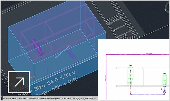 配管オルソ図面の詳細ビューを表示するパネルが重ねて表示された 3D モデル