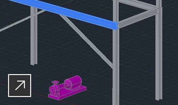 Układ konstrukcji stalowej z otwartym panelem edycji elementów Plant 3D