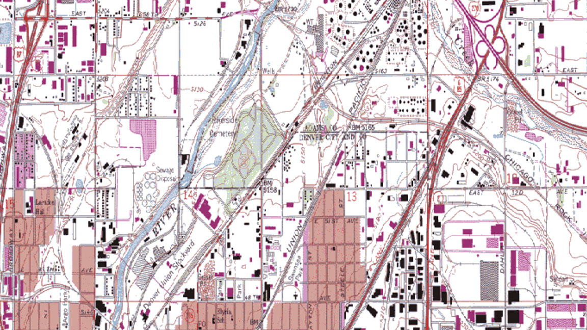 Raster image of partly urban area shown in toolset user interface
