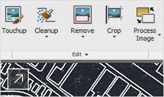 Drawing in AutoCAD user interface with Raster Tools ribbon selected