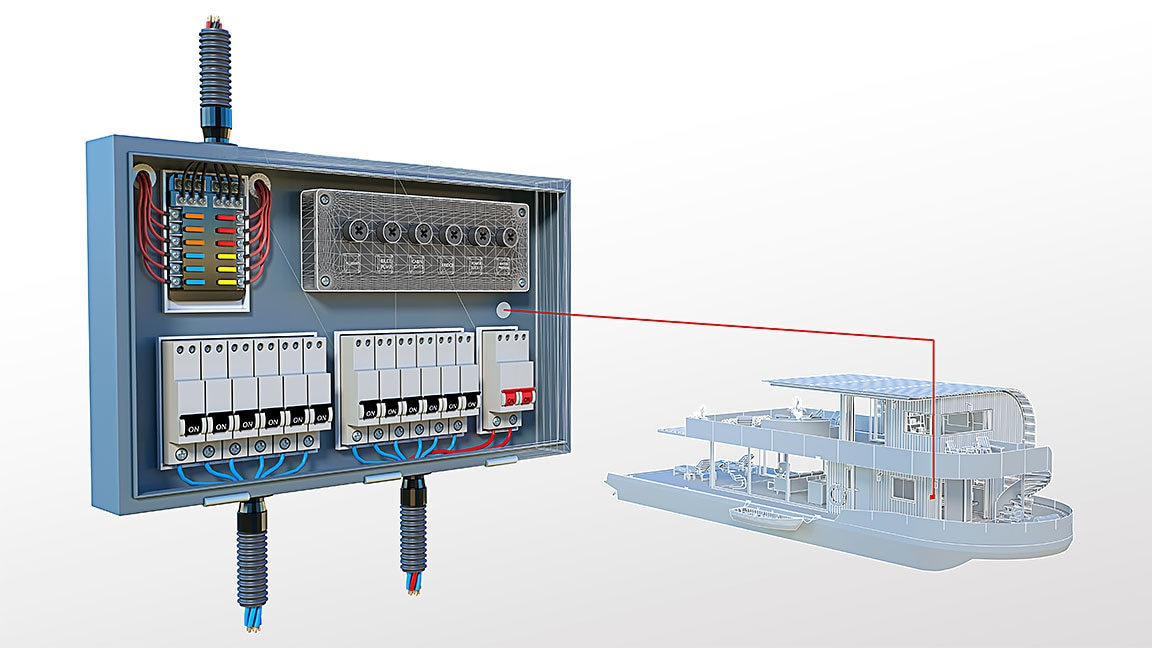 3D-Nahaufnahme eines Details der Elektroschalttafel aus einer Hausboot-Zeichnung