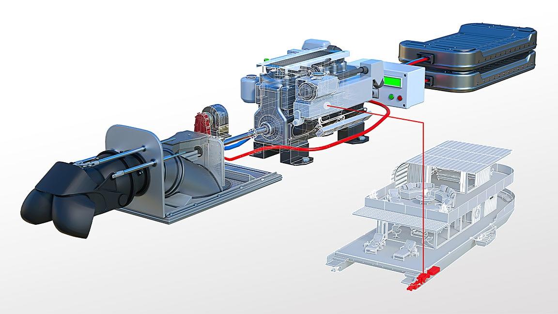Foto mostrando detalhes do motor de um barco em uma casa flutuante