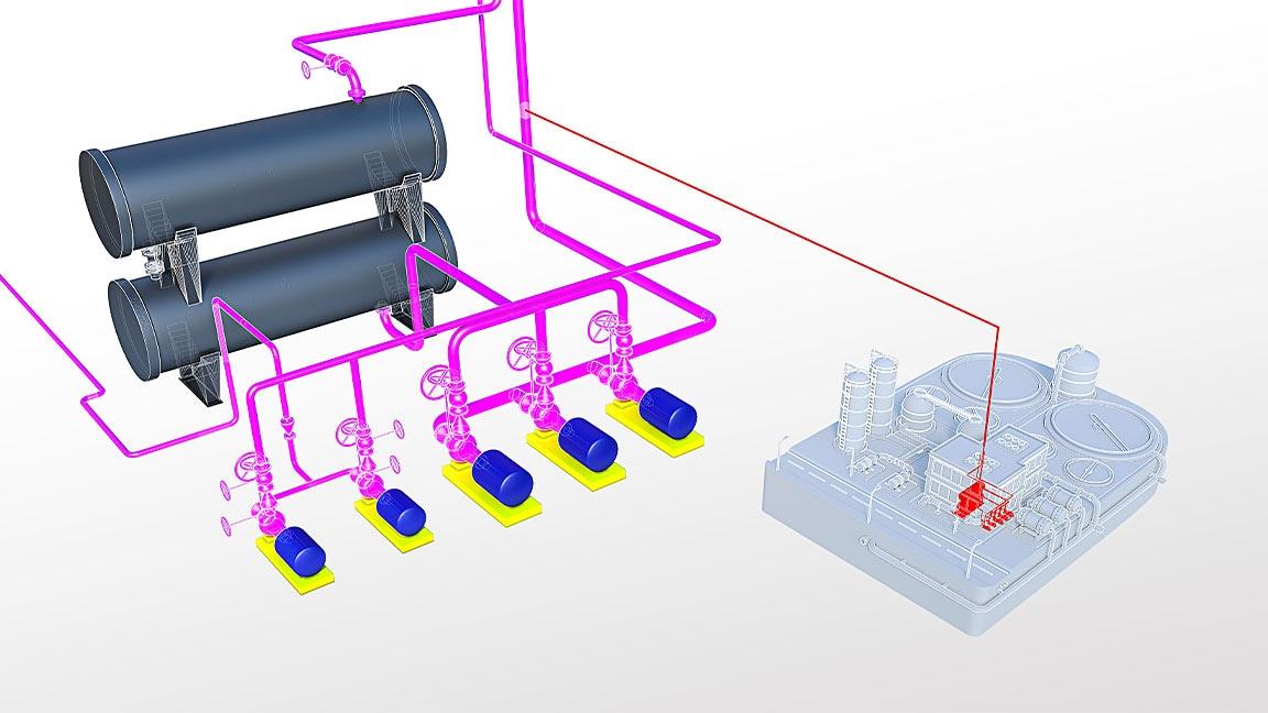 Modelo de sistema de tuberías mostrado como detalle del dibujo de una planta