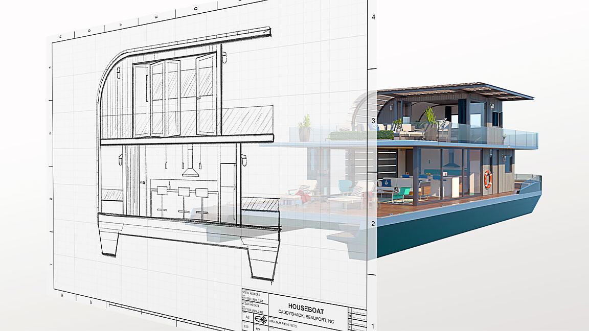Raster image of houseboat in front of full houseboat rendering