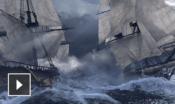 Video: silent animation of a British ship and an American ship firing cannons as they pass each other on stormy seas