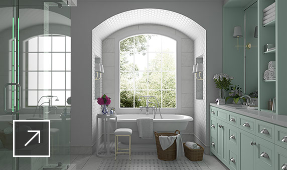 White-tiled bathroom with bathtub below large window where bright sunny light is streaming in