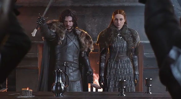 Sansa Stark and Jon Snow standing side by side in the great hall of Stark House